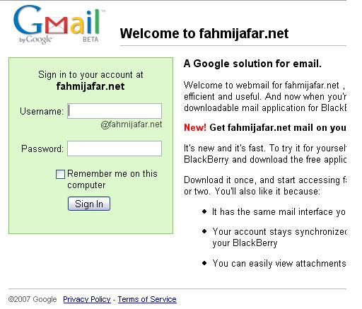 login to Gmail on fahmijafar.net